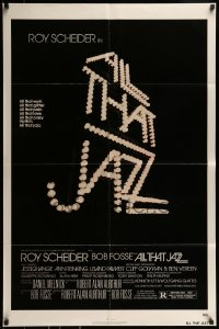 9y031 ALL THAT JAZZ 1sh 1979 Roy Scheider, Jessica Lange, Bob Fosse musical, title in lights!