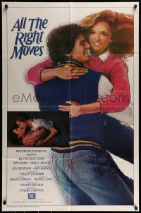 9y032 ALL THE RIGHT MOVES int'l 1sh 1983 different art and image of Lea Thompson & Tom Cruise, rare