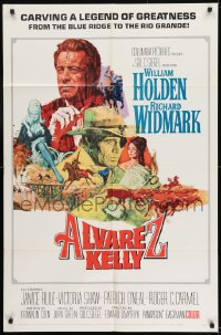 9y034 ALVAREZ KELLY 1sh 1966 William Holden & Colonel Richard Widmark, artwork by Robert Abbett!