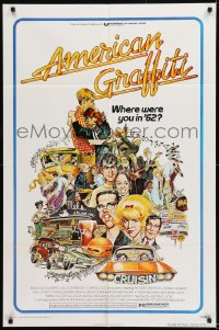9y036 AMERICAN GRAFFITI 1sh 1973 George Lucas teen classic, Mort Drucker montage art of cast!