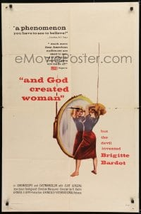 9y040 AND GOD CREATED WOMAN 1sh 1957 but the Devil invented sexy Brigitte Bardot!