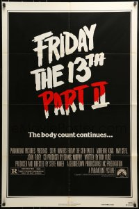 9y322 FRIDAY THE 13th PART II teaser 1sh 1981 slasher horror sequel, body count continues!