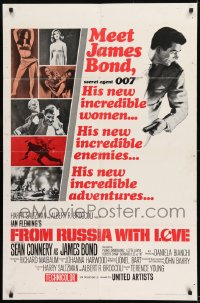 9y325 FROM RUSSIA WITH LOVE style A 1sh 1964 Sean Connery is Ian Fleming's James Bond 007!