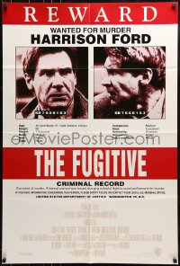 9y327 FUGITIVE recalled int'l 1sh 1993 Harrison Ford is on the run, cool wanted poster design!