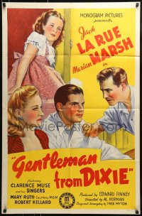 9y334 GENTLEMAN FROM DIXIE 1sh 1941 stone litho art of Jack LaRue & Marian Marsh!