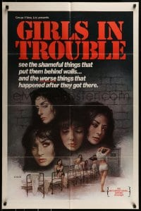 9y339 GIRLS IN TROUBLE 1sh 1975 sexploitation, the shameful things that put them behind walls!