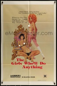 9y341 GIRLS WHO'LL DO ANYTHING 1sh 1976 great sexy artwork of nearly-naked girls by Robert McGinnis!
