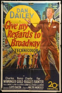 9y342 GIVE MY REGARDS TO BROADWAY 1sh 1948 stone litho of Dan Dailey singing & dancing in New York!