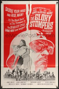 9y345 GLORY STOMPERS 1sh 1967 AIP biker, Dennis Hopper, wild image of bikers on the rampage!