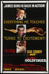 9y349 GOLDFINGER 1sh R1980 three great images of Sean Connery as James Bond 007!