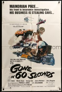 9y350 GONE IN 60 SECONDS 1sh 1974 cool art of stolen cars by Edward Abrams, crime classic!