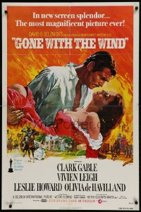 9y352 GONE WITH THE WIND 1sh R1974 Terpning art of Gable carrying Leigh over burning Atlanta!