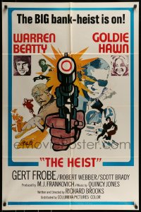 9y003 $ style D int'l 1sh 1971 bank robbers Warren Beatty & Goldie Hawn, The Heist!