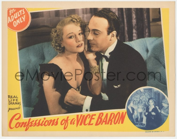 1 of 2 : 9z169 CONFESSIONS OF A VICE BARON LC 1942 romantic close up of  Willy Costello & sexy Veola Vonn!