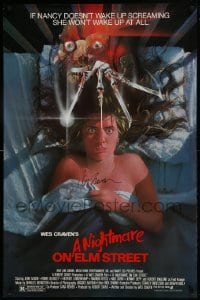 1b031 NIGHTMARE ON ELM STREET signed 1sh 1984 by director Wes Craven, horror art by Matthew Peak!