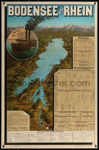1d832 BODENSEE UND RHEIN 25x38 Swiss commercial poster 1970s Lake Constance, art from 1896 poster!