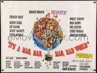1f002 IT'S A MAD, MAD, MAD, MAD WORLD style A Cinerama British quad 1964 Davis art, day-glo, rare!