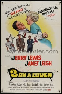 1j032 3 ON A COUCH 1sh 1966 great image of screwy Jerry Lewis squeezing sexy Janet Leigh!