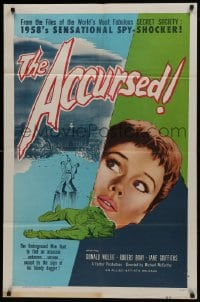 1j041 ACCURSED 1sh 1958 from the files of the world's most fabulous secret society!