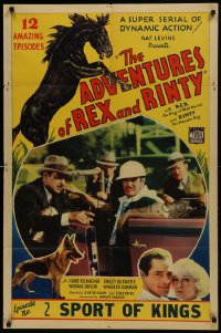1j044 ADVENTURES OF REX & RINTY chapter 2 1sh 1935 serial about a horse & German Shepherd dog!