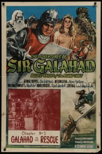 1j046 ADVENTURES OF SIR GALAHAD chapter 5 1sh 1949 George Reeves, Knights of the Round Table!