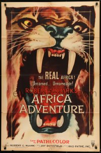 1j047 AFRICA ADVENTURE style A 1sh 1954 this is the REAL Africa, huge close up art of big cat!