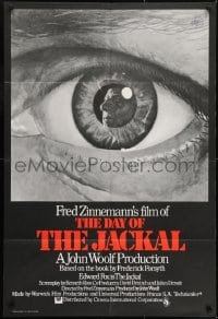 1j003 DAY OF THE JACKAL English 1sh 1973 cool different Michael Leonard art of de Gaulle in eyeball
