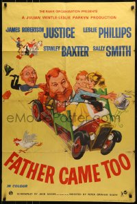 1j011 FATHER CAME TOO English 1sh 1963 wacky artwork of James Robertson Justice and cast!