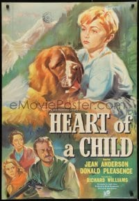 1j014 HEART OF A CHILD English 1sh 1958 great artwork of boy and his St. Bernard dog!