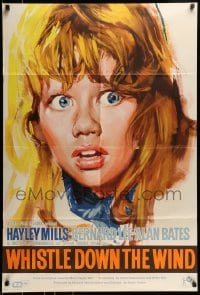 1j024 WHISTLE DOWN THE WIND English 1sh 1962 Bryan Forbes, close-up artwork of Hayley Mills!