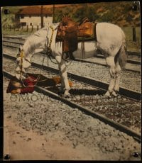 1m006 BRANDED SOMBRERO heavily trimmed 1/2sh 1928 Silver tries to help Buck Jones on train tracks!