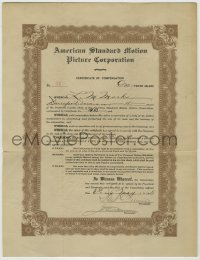 1m040 AMERICAN STANDARD MOTION PICTURE CORPORATION stock certificate 1915 Marks bought 10 shares!