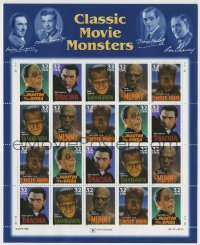 1m042 CLASSIC MOVIE MONSTERS uncut postage stamps 1996 Frankenstein, Dracula, Mummy, Wolf Man