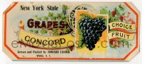 1m034 NEW YORK STATE CONCORD GRAPES produce crate label 1910s grown & packed in Tivoli, New York!