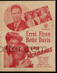 1m021 SISTERS Uruguayan herald 1940s Errol Flynn & Bette Davis have true love, but many problems!