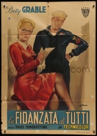 1p371 PIN UP GIRL Italian 1p 1950 great different Olivetti art of sexy Betty Grable & sailor!