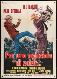 1p372 POCKET MONEY Italian 1p 1972 great different Ciriello art of Paul Newman & Lee Marvin!