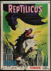 1p377 REPTILICUS Italian 1p 1963 great different art of giant lizard monster crushing city, rare!