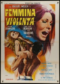 1p378 RESTLESS Italian 1p 1973 completely different art of naked Raquel Welch by Aller!