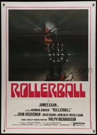 1p383 ROLLERBALL Italian 1p 1975 James Caan in a future where war does not exist, Bob Peak art!