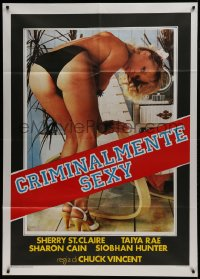1p389 SEX CRIMES 2084 Italian 1p 1987 c/u of sexy near-naked Sheri St. Claire self censored!