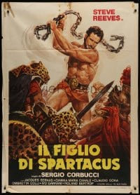 1p390 SLAVE Italian 1p R1970s different Casaro art of Steve Reeves as The Son of Spartacus!