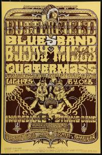 1p006 BUTTERFIELD BLUES BAND/BUDDY MILES/QUATERMASS 14x21 music poster 1970 Norman Orr art!