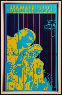 1p001 MAMAS & THE PAPAS 13x20 music poster 1967 psychedelic artwork of the band by Robert Wendell