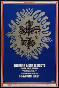 1p025 SANTANA/GRASS ROOTS/PACIFIC GAS & ELECTRIC 14x21 music poster 1968 Wes Wilson art!