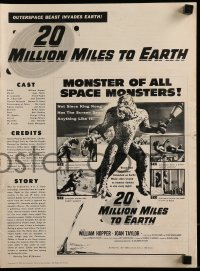 1p029 20 MILLION MILES TO EARTH pressbook 1957 out-of-space creature invades the Earth, cool art!