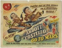1r005 ABBOTT & COSTELLO GO TO MARS TC 1953 art of wacky astronauts Bud & Lou in outer space!