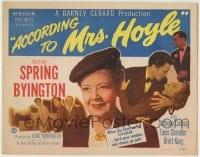 1r006 ACCORDING TO MRS HOYLE TC 1951 when Spring Byington turns on her charm, hard guys weaken!