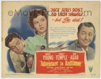 1r009 ADVENTURE IN BALTIMORE TC 1949 Robert Young, John Agar & nice girl Shirley Temple!