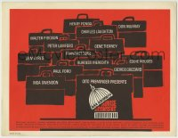 1r010 ADVISE & CONSENT TC 1962 Otto Preminger classic, Fonda, great artwork by Saul Bass!